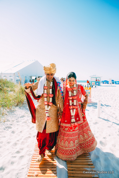 Indian Couple Arriving At the Ceremony Venue