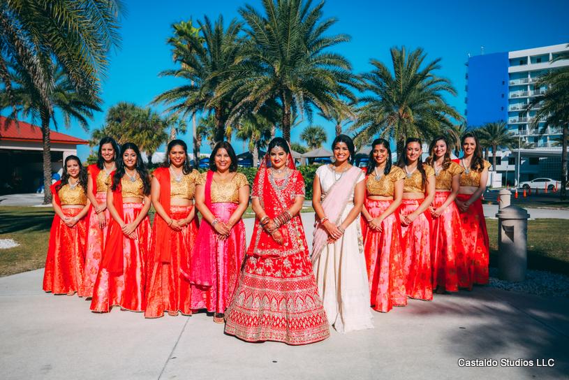 Bride Posing With Bridesmaids