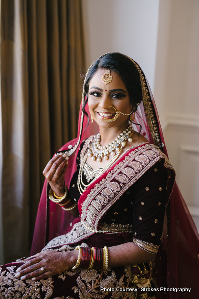 Indian bride posing for a photoshoot