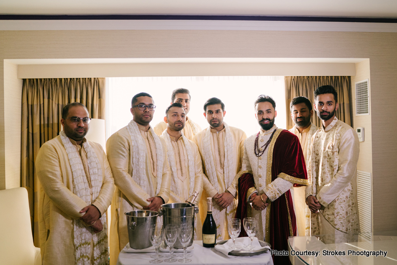 Indian Groom having good time with friends before the ceremony