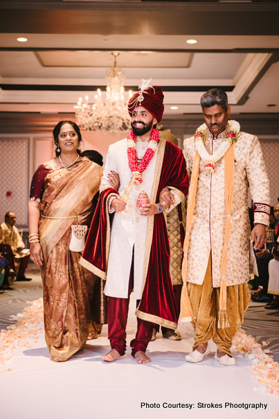 Parents escorting Groom to the Mandap