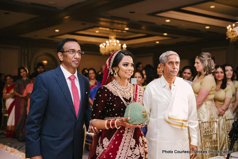 Bride Entering Indian Wedding Mandap