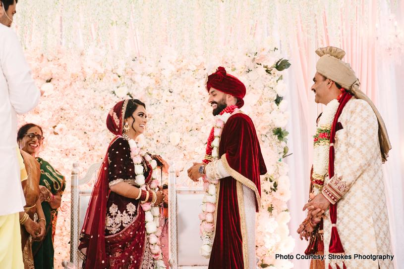Garland Exchange ceremony at Indian wedding