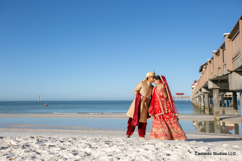 Indian couple posing at the Beach