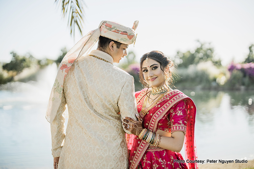 Indian Groom looking in the eyes of the wife to be