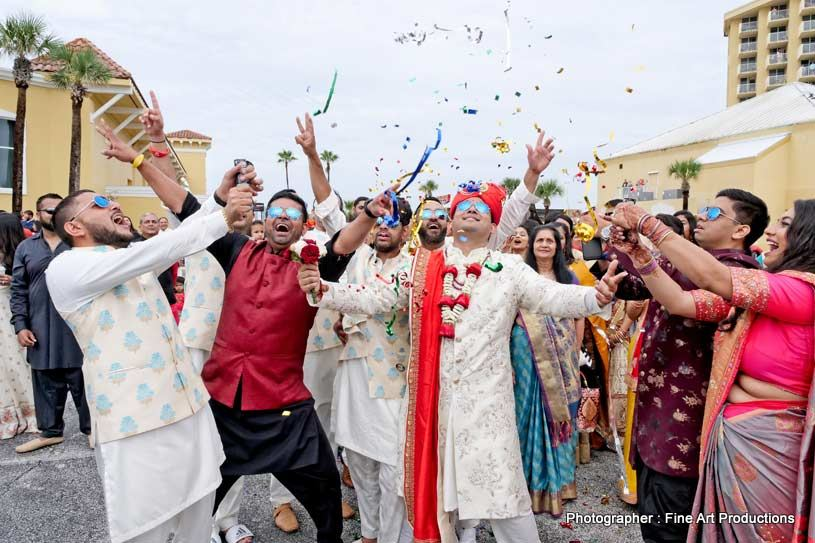 Indian Groom Dancing in baraat