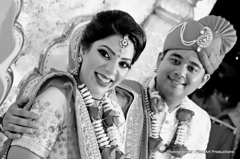 Indian Bride and groom at the Indian wedding
