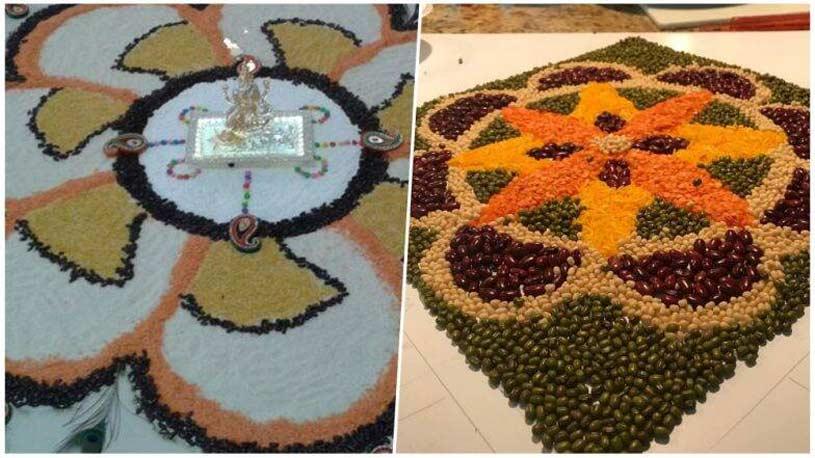 Rangoli made by grams and pulses