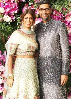 Sundar Pichai and his wife Anjali