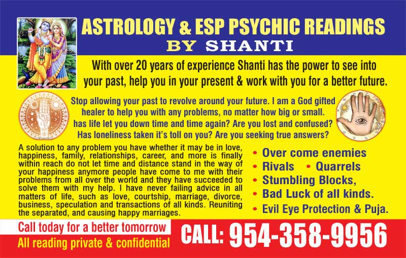 Astrology & ESP Psychic Readings By Shanti