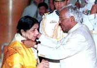 Lata Mangeshkar has been awarded with the Padma Bhushan, Padma Vibhushan, and India's highest civilian honor, Bharat Ratna