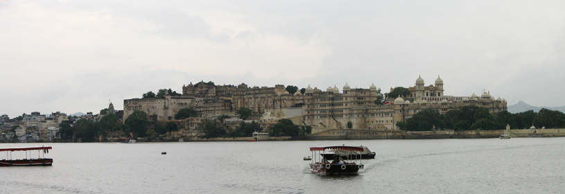 India Udaipur Palace panorama from the lake