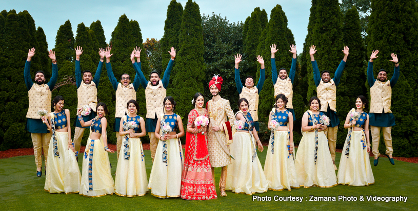 Cute indian Couple with bridesmaids and groomsmens