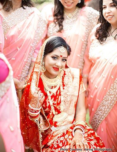 Beautiful indian bride in wedding dress
