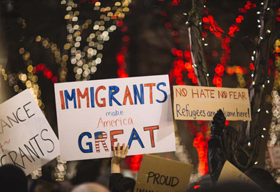 Immigrants protesting