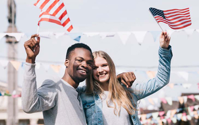 Americans Holding Flag