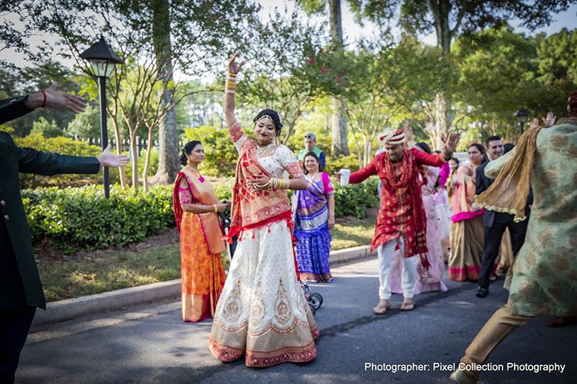Indian bride Dancing in the baraat