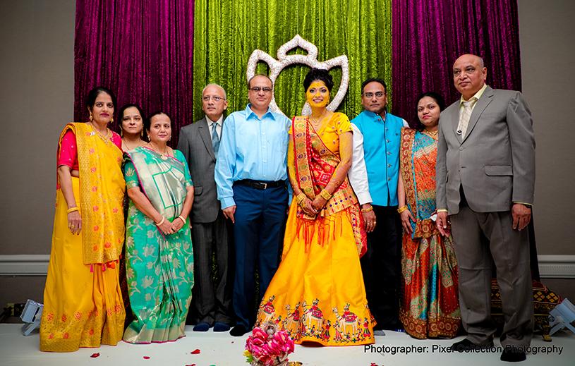 Traditional indian bride's haldi ritual