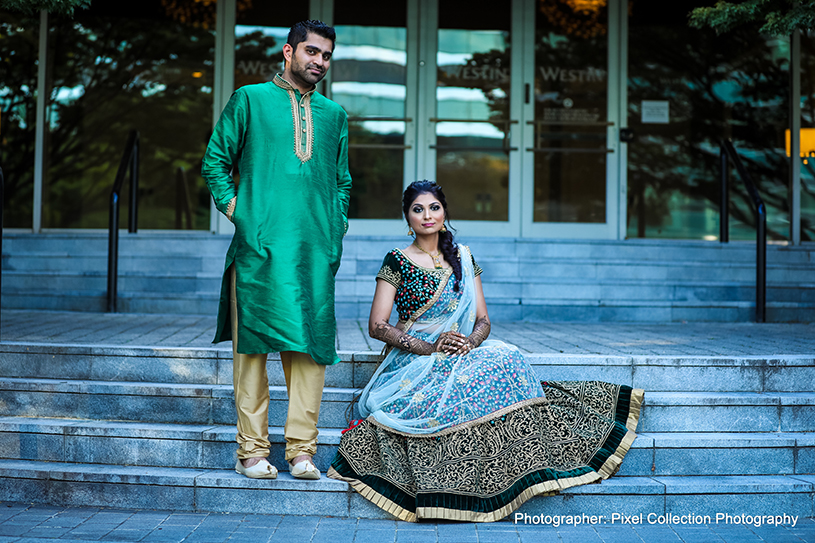 Romantic indian bride and groom photo session