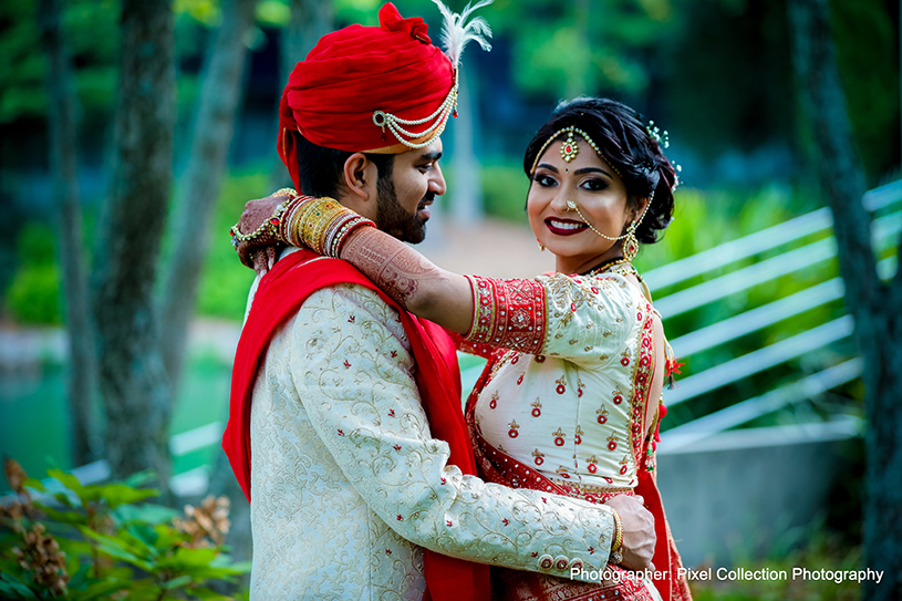 Glamorous indian bride's and Groom's portrait