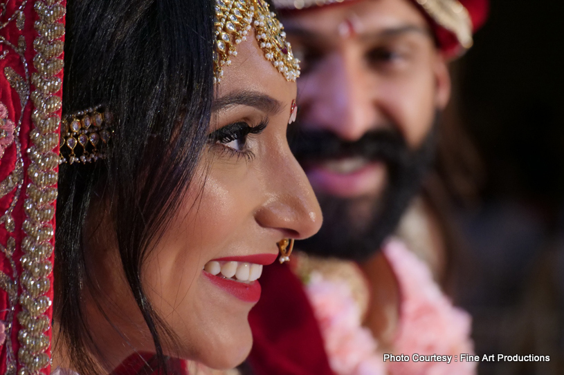 Love Sparkling on face of Indian bride to be