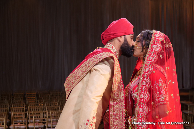 Indian Couple kissing after the ceremony