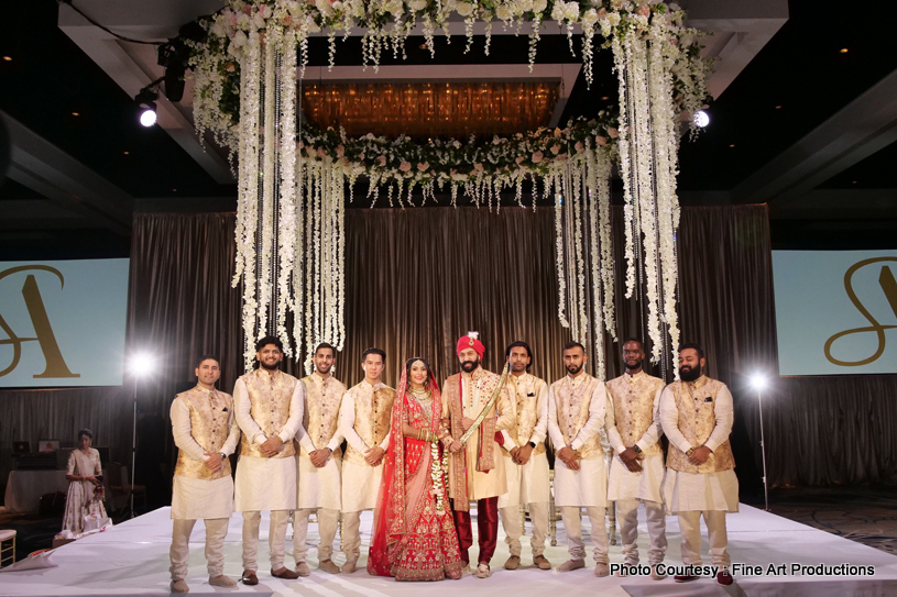 Indian Couple with groomsmen and Bridesmaids