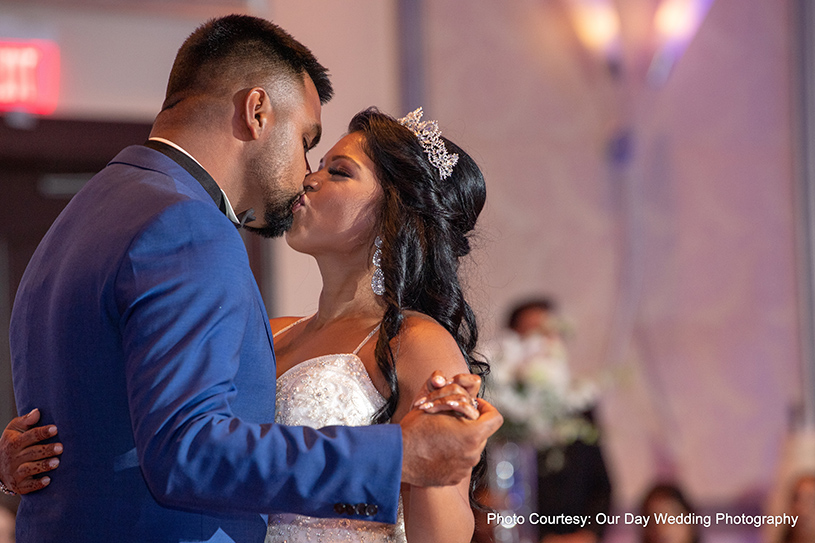 Indian Couple kissing at Reception