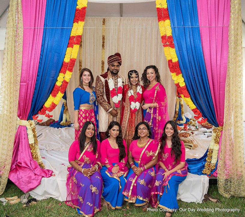 Indian Couple with Bridesmaids