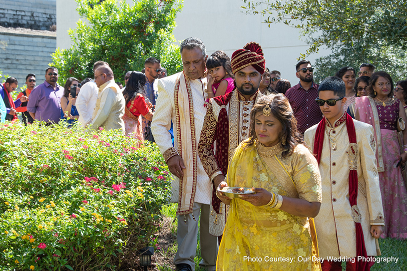 Indian Groom entering the wedding ceremony
