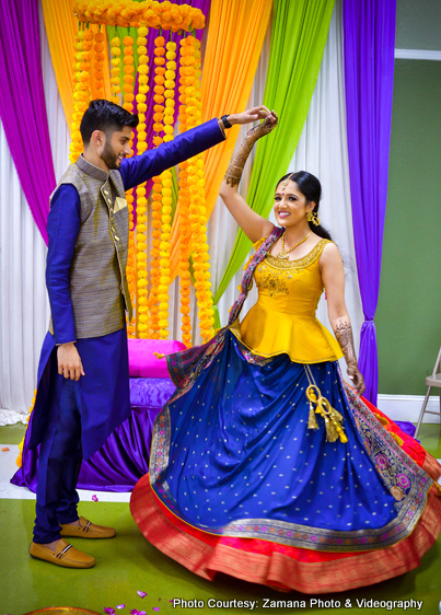 Indian Bride and Groom Performing Dance at their Sangeet Ceremony