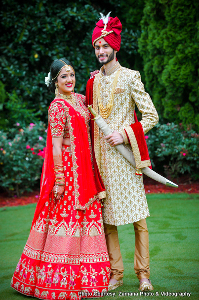 Indian Bride and Groom possing during Outdoor photoshoot