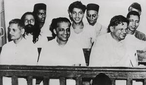 Killers' smile: (First row, from left) Nathuram, Apte, Karkare; (second row) Badge, Madanlal, Gopal; (third row) Shankar, Savarkar