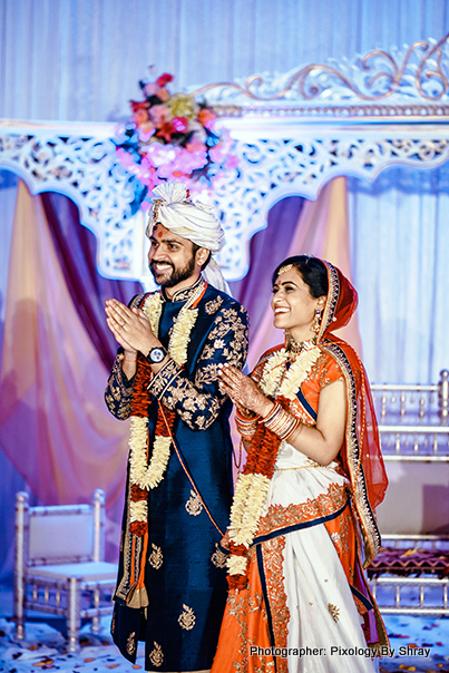 Adorable indian Couple after the wedding ceremony