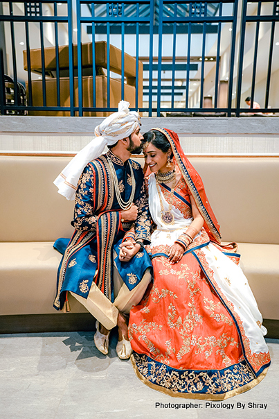 Tender indian bride and groom shot