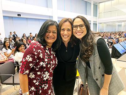 Rep. Pramila Jayapal (left), Sen. Kamala Harris (center) and Meena Harris, founder of the Phenomenal Women Action Campaign