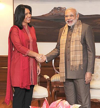 Tulsi Gabbard with Narendra Modi