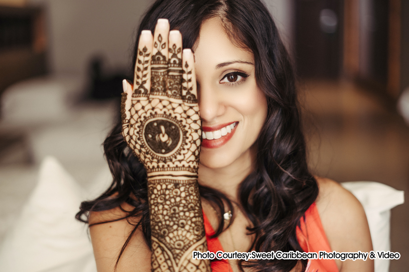 mehndi is scientifically proven to be a cooling property, the art of applying henna is a way to calm the bride's nerves.