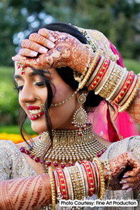 Mehndi designs for the bride are elaborate, intricate, and as part of the tradition
