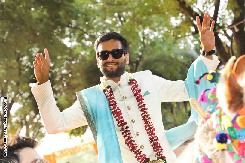 Indian Groom Sitting On a horse at the baraat