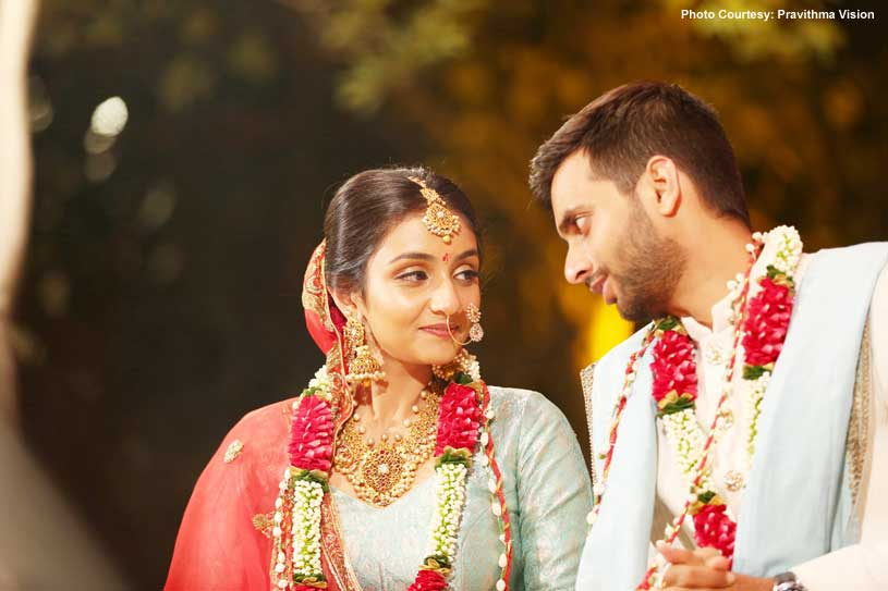 Indian Bride and groom Looking at eachother