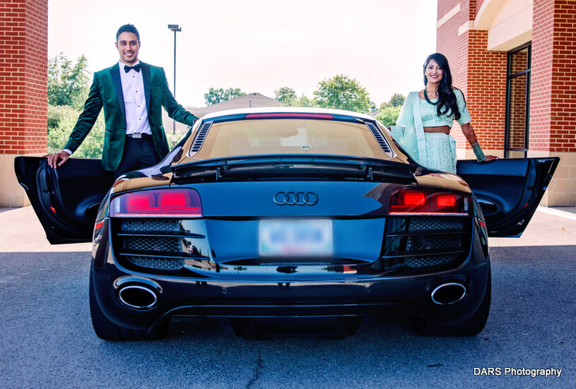 Deepali And Ajay Posing at the Car