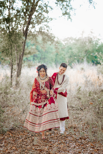 Indian bride and groom at outdoor photoshoot