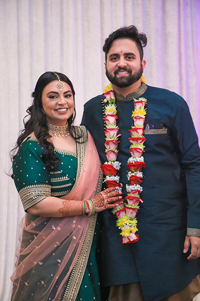 Indian groom wearing Garland