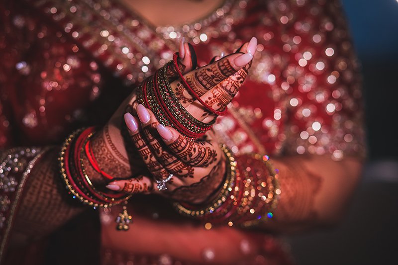 Bride wearing bangles for her big day