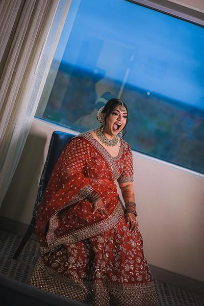 Indian bride getting surprised