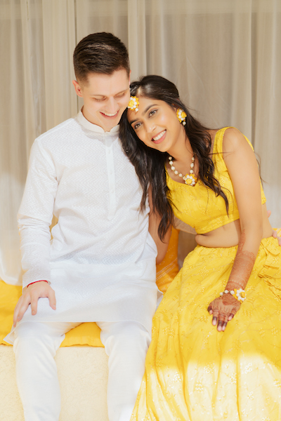 Indian Bride and Groom Ready for Haldi ceremony