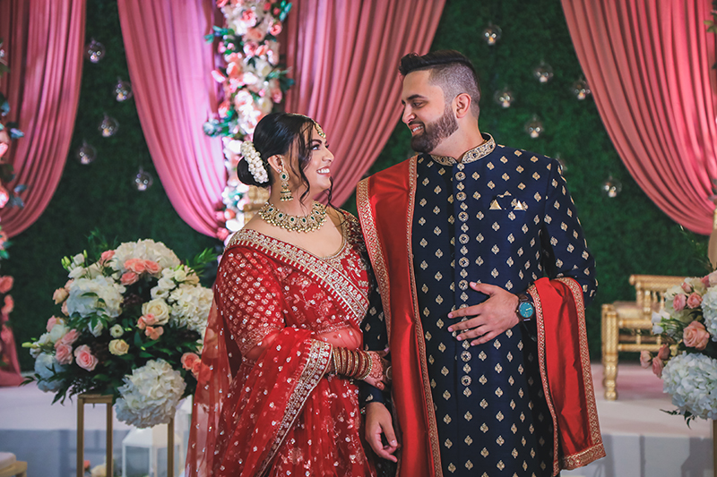 Indian couple looking at eachother