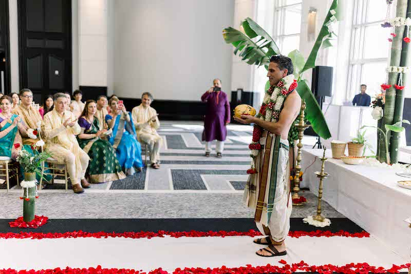Groom waiting for bride to enter the wedding venue