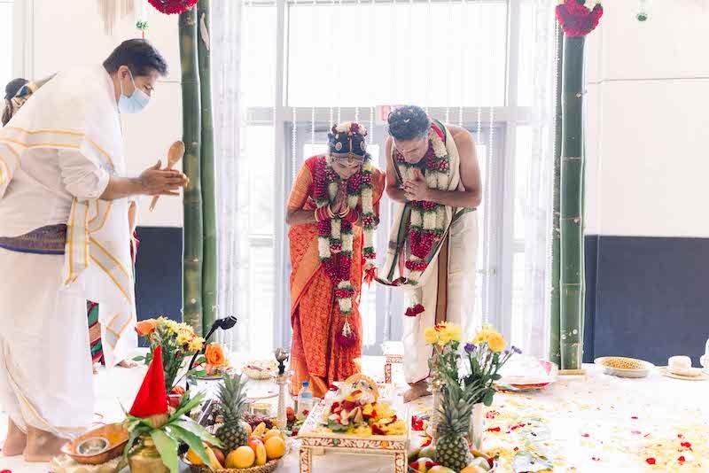 Indian couple worshipping